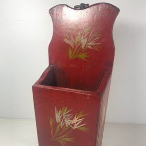 Other - Vintage Wooden Wall Letter Holder Red Wheat Design